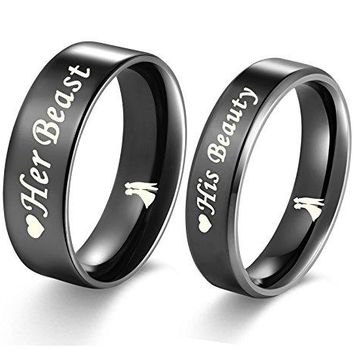 Aegean Jewelry quotBeast and Beautyquot Love Style Wedding Band Set Engagement Promise Anniversary Couple Ring