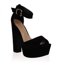 Brandi Black Suede Platform High Heel Sandals