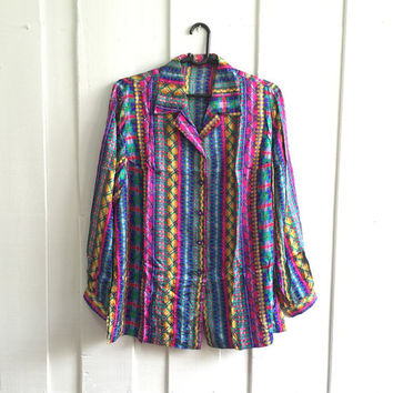 Uk size 18 -20/Vintage scarf Print baroque shirt ,ladies 's Over sized blouse/disco shirt/abstract art in multi color/ Pink Yellow and Green