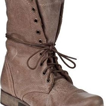 Steve Madden Shoes Troopa Combat Boot Stone Leather - Jildor Shoes, Since 1949