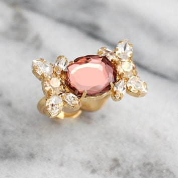 Cocktail Ring, Blush Bridal Ring, Morganite Ring, Bridal Ring, Adjustable Crystal Ring, Gift For Woman, Bridesmaids Gift, Swarovski Ring.