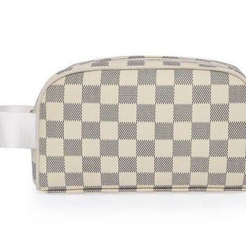 DCCK Miracle Premium Checkered Cosmetic Toiletry Bag | Make Up Travel Bag for Men Women | PU Vegan Leather (Cream)