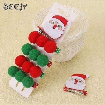 SCCJY New Xmas Hair Accessories Christmas Hair Clip Elk Horn Barrette Santa Claus Hairpin For Girl Teen Toddlers Gift A1R30C