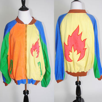 Vintage 1980s Cotton Zip up bright colored COLORBLOCKED Flame graphic winder breaker bomber coat jacket