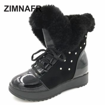 ZIMANFR BRAND 2017 WINTER BOOTS ANKLE SNOW BOOTS WOMEN WINTER SHOES LACE-UP FLAT SHEOS SIZE 36-40