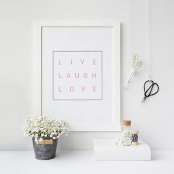Live Laugh Love, Motivational poster, Printable poster, Wall art, Instant download, Printable quote, Scandinavian poster, Nordic decor