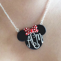 Custom Monogram/Name Minnie/Mickey Polymer Clay Pendant Necklace Handmade