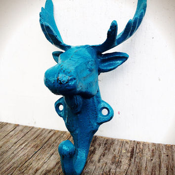 Teal Blue Green Moose Wall Hook – Outdoor Cabin Decor - Shabby Rustic Chic