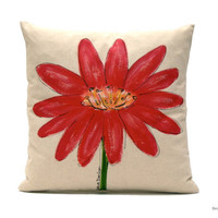 Pillow. Flower. Red. Spring Colors,