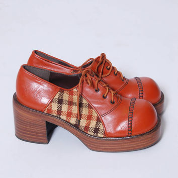 Vintage 70s PLATFORM Shoes Vintage OXFORD Shoes Leather & Tweed Shoes Vintage DEADSTOCK Eldita's  Shoes