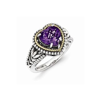 Sterling Silver w/14k Gold Antiqued Amethyst Heart Ring