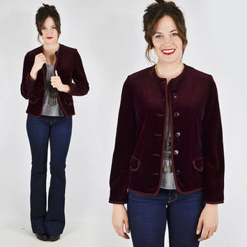 vtg 60s 70s mod hippie boho BUTTE knit BURGUNDY maroon VELVET crop tuxedo dress blazer jacket S