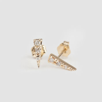 diamond spike studs, 14k gold, rose gold, white gold, spike earrings, triangle earrings, pave diamond studs