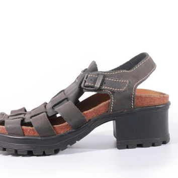 90s Vintage Platform Sandals Slate Gray Leather Fisherman Chunky Hipster Grunge Shoes Womens Size US 8 UK 6 EUR 38/39