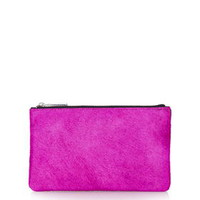 Pony Zip Top Leather Purse - Pink