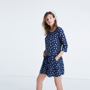 Madewell et Sézane® Silk Anna Drop-Waist Dress in Leaf Print