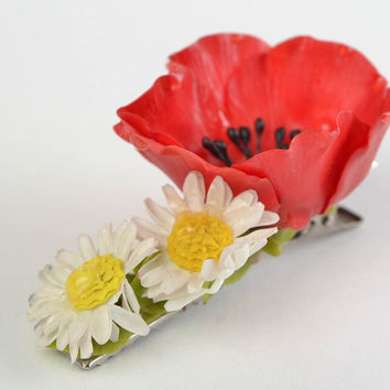 Beautiful handmade cold porcelain flower hair clip Poppy and Camomiles