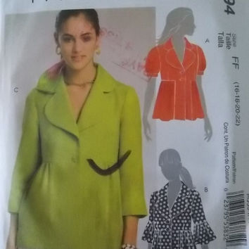 Sewing Pattern McCalls 5594 Misses Lined Jackets Size 16-22