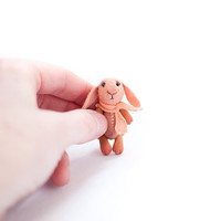 Tiny orange plush and clay rabbit in a polka dot matchbox. Pocket plush animal. Toy for you or your BJD doll.