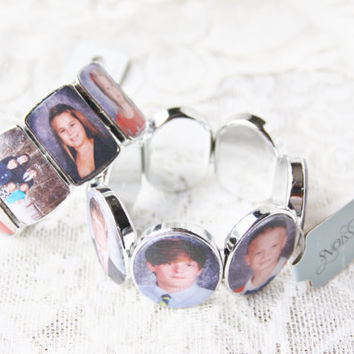 Silver Photo Bracelet choose from Oval, Rectangle or Square.  Great as a gift for anniversary, baby shower, surrogate, thank you, birthday