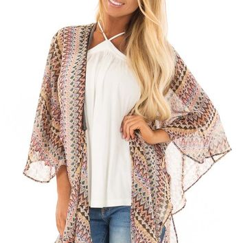 Multicolor Tribal Print Kimono with Trim Detail