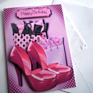 Handmade Girly Pink Shoes Birthday Card,Personalise, 18th, 21st, 3D, Decoupage