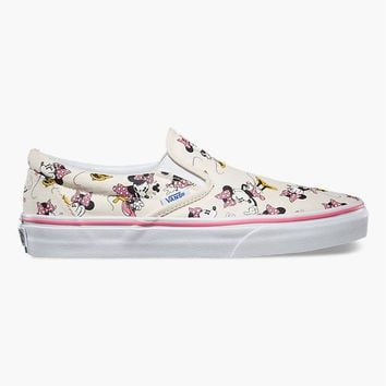 Vans Disney Minnie Mouse Classic Womens Slip-On Shoes Pink Combo  In Sizes