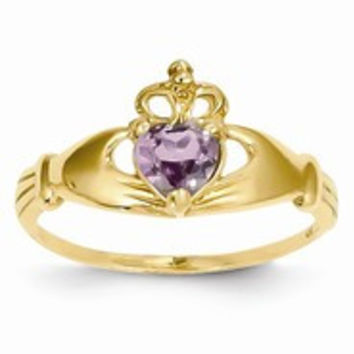 14k Yellow Gold CZ June Birthstone Claddagh Heart Ring