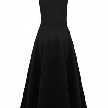 Black Sleeveless A-line Sheath Midi Skater Dress