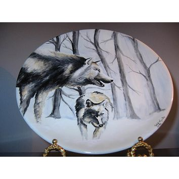 Robert Hazelton Signed Hand Painted Wolves Charger Dated 1999 For Fathers Day