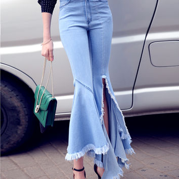 [TWOTWINSTYLE] 2016 Homemade Spring Fashion Long Slit Tassel Ripped Irregular Flares Jean Pants Women New