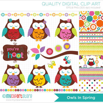 Clipart Combo - Owls in Spring Clip Art / Digital Clipart - Instant Download