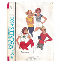 McCall's 4506 Pattern for Misses' Top in 4 Versions, Sz Petite 6 to 8, Stretch Knits, 1975, Vintage Pattern, Home Sew Pattern, 1975 Fashion