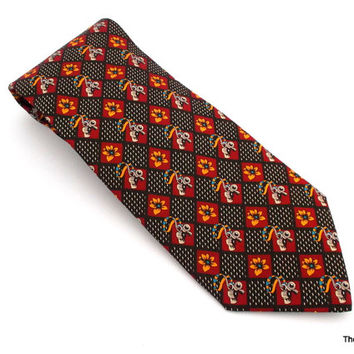 Vintage Giorgio Armani Cravatte necktie made in Italy whistle flower tie