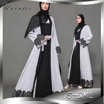 Muslim Women Abaya  Lace Cardigan Maxi Dress Tunic Jilbab Long Robe Gowns Jalabiya Loose Style Middle East Arab Islamic Clothing
