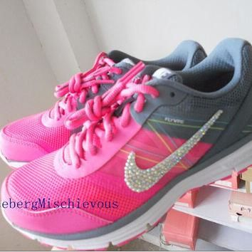 us Size 6.5 Nike 2015 new woman running shoes Pink / White / Black Rhinestone spo