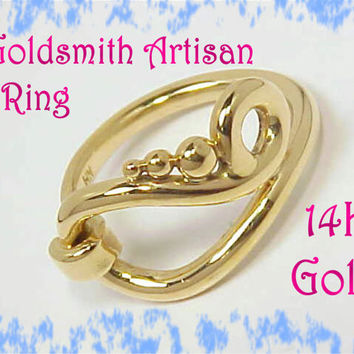 14K Gold - Contemporary New Age Freedom Ring - Goldsmith One of A Kind Treasure - Celtic Irish