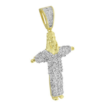Christ The Redeemer Statue Pendant Jesus Charm Gold Finish Simulated Diamonds