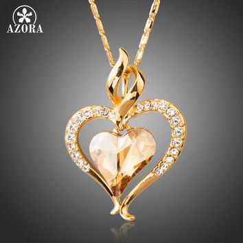 Long Link Chain Heart Austrian Crystal Gold Color Heart Pendant Necklace