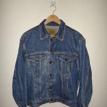 New Year Sale United Color Of Benetton Jacket Denim Styled in Italy Scovil Button Vintage Bikers Motorcycle 1980s Jeans