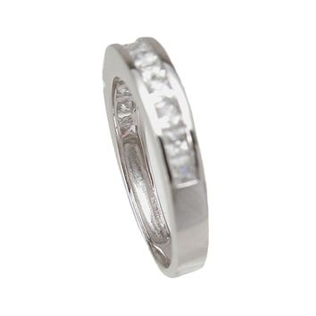 Plutus Brands 925 Sterling Silver Wedding Band 0.3 Carat Weight- Size 8