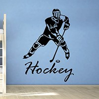 Hockey Wall Decal Sports Hokeist Wall Decals Vinyl Stickers Teens Boys Nursery Baby Room Home Decor Art Bedroom Design Interior C508