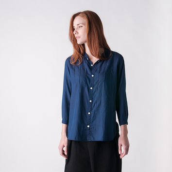MILL MERCANTILE - BLUE BLUE JAPAN - Cotton Silk Twill Button Shirt in Indigo