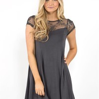 Lace-Up Back Shift Dress