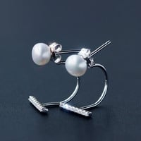 Personality pearl 925 Sterling Silver zircon earrings , perfect gift