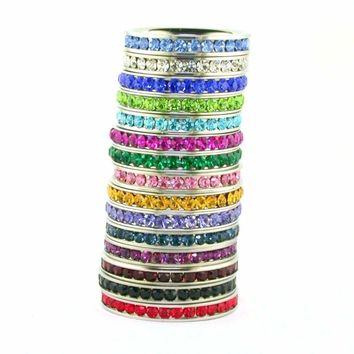 Birthstone Cubic Zirconia Eternity Comfort Fit Stainless Steel Stackable Band