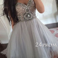 Custom Made sweetheart neck tulle short prom dress, formal dress