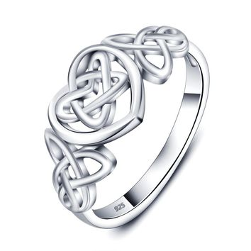 Sterling Silver Celtic Knot Heart Ring