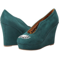 Philadelphia Eagles Cuce Shoes Women's Spirited Wedge Pumps - Midnight Green