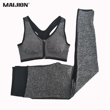 MAIJION Women Elastic Gym Running Sets Front Zipper Yoga Bra & Mesh Sport Pants Suits,Breathable Quick Dry Athletic Fitness Sets